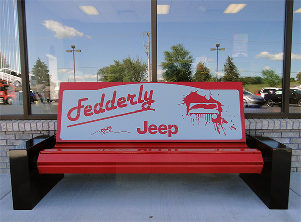 commercial advertising indoor outdoor benches